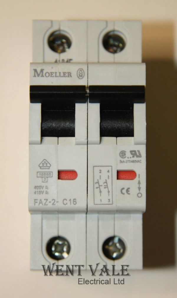 Moeller FAZ-2-C16 - 16a Type C Double Pole MCB Un-used